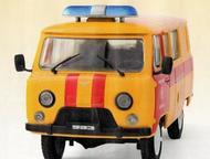 автомобиль на службе №4 Уаз-3909 АГС Аварийно газовая служба цвет:оранжево-красный, масштаб:1:43, сделан из металла и пластика, модель в блистере, с ж, Липецк - Коллекционирование