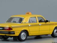 Липецк: автомобиль на службе №9 Газ-3110 Волга такси цвет:жёлтый, масштаб:1:43, сделан из металла и пластика, модель в блистере, журнал с моделью