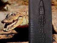 Мужское портмоне из натуральной кожи Wild Alligator Новинка 2016 года. Стильное мужское портмоне ручной работы с 3d тиснением. Телефон, деньги, кредит, Озерск - Аксессуары